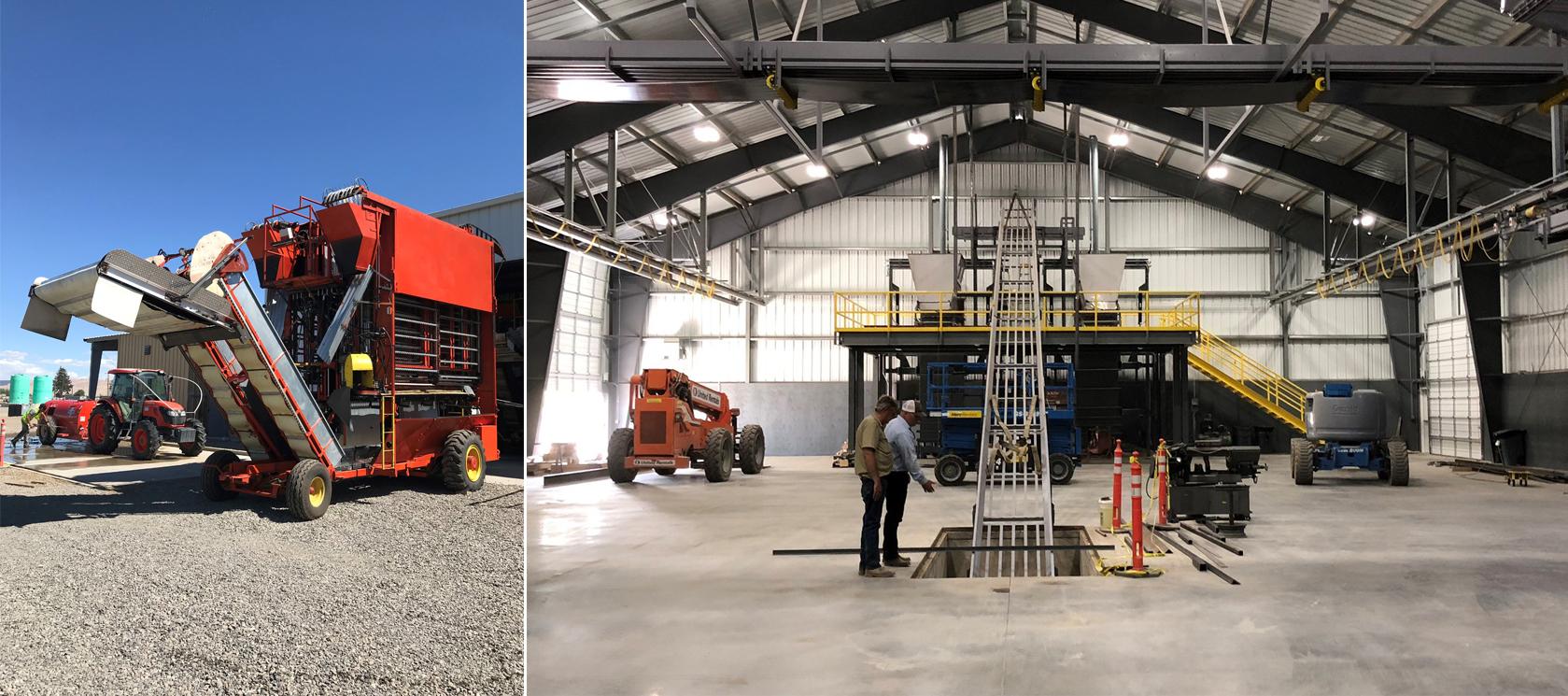 New hop combine at River Ranch   Conditioning warehouse at Mabton Ranch