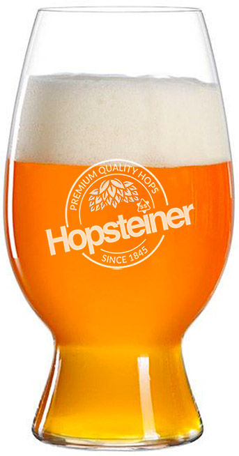 Beer glass with Hopsteiner logo